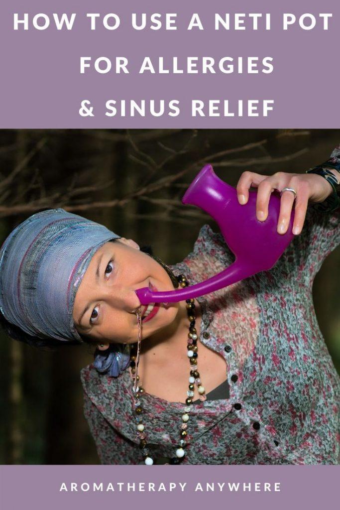 woman using neti pot