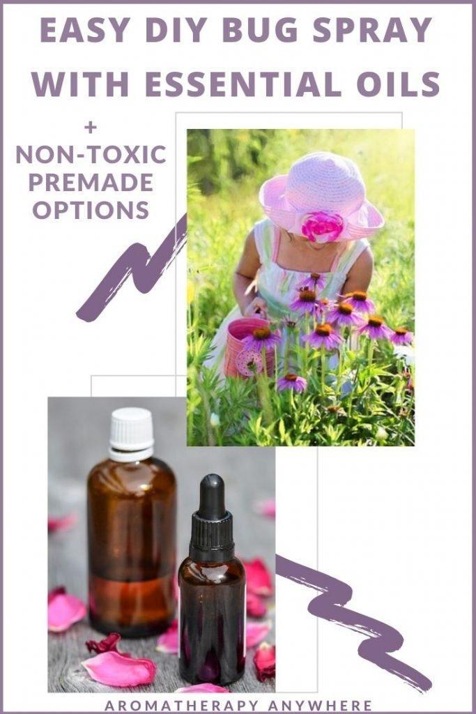 girl plucking flowers+ essential oil bottles