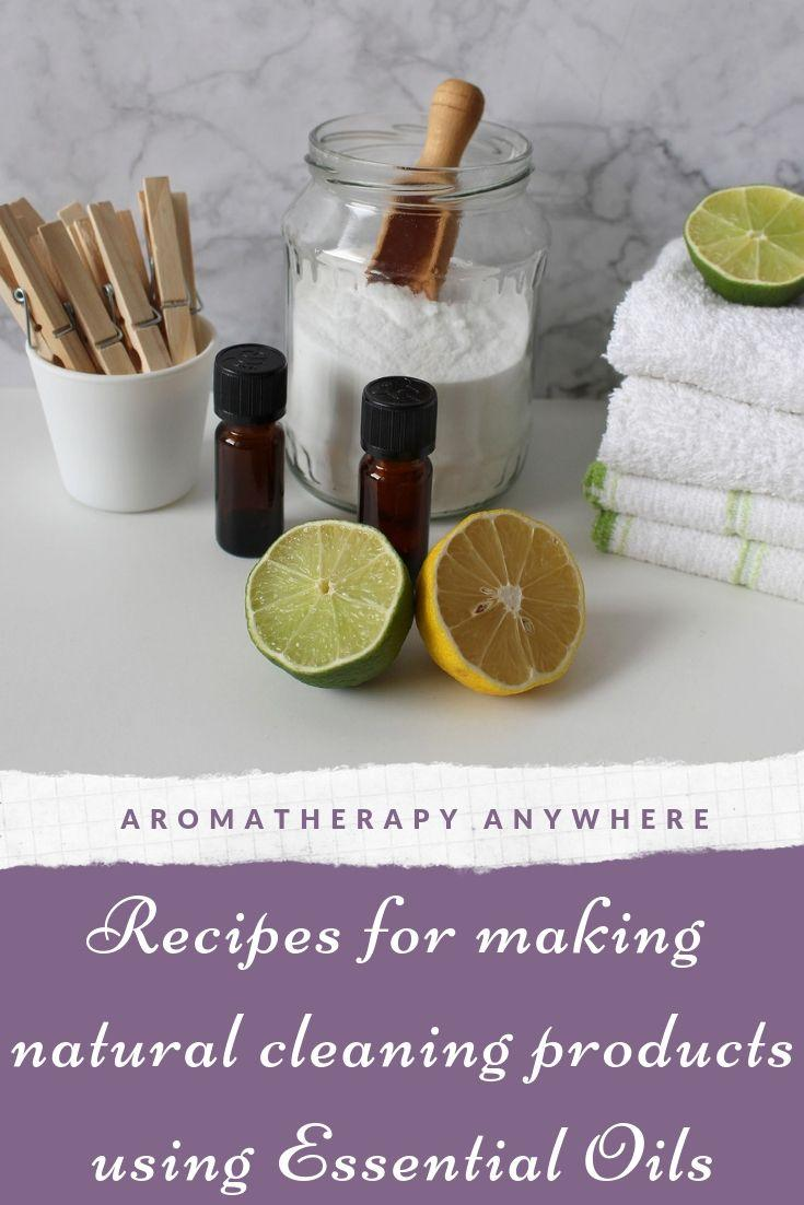 Recipes for making natural cleaning products using essential oils
