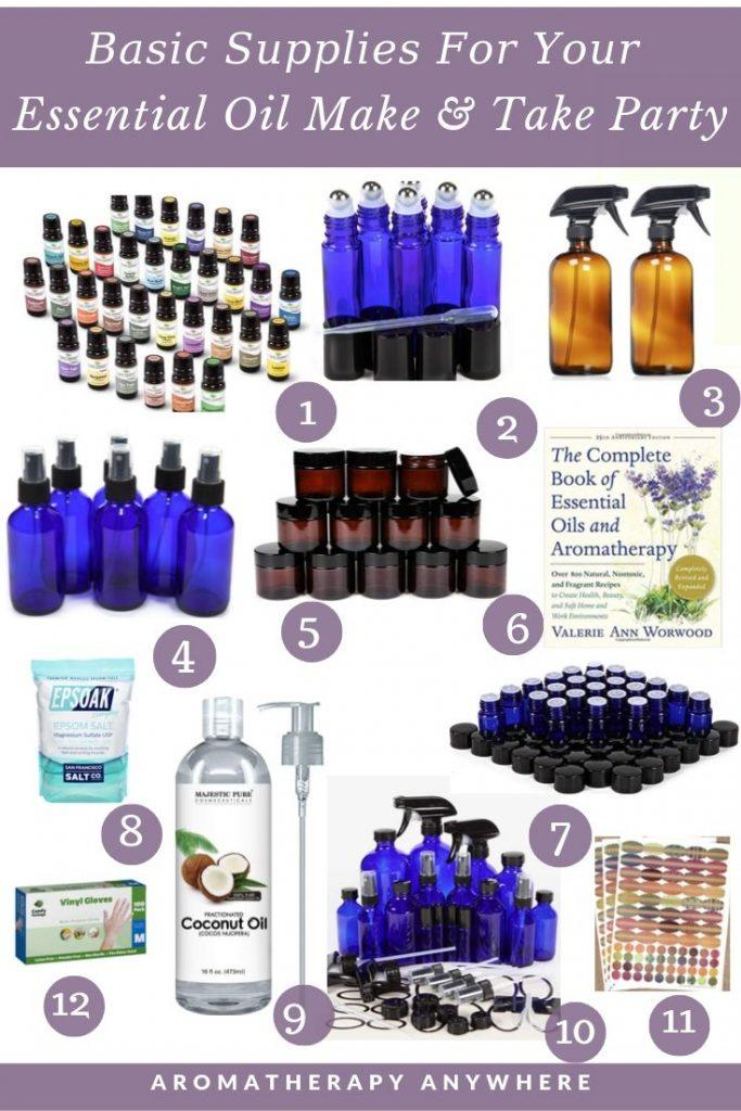 Basic aromatherapy supplies you'll need if you are hosting an essential oil party