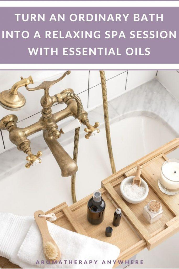 bath tub with close up of essential oil bottle