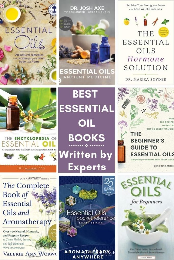 collage of essential oil books